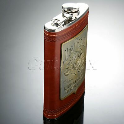 9oz Steel PU Whiskey Alcohol Wine Flagon Drink Bottle Liquor Hip Flask Mens Gift
