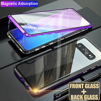 For Samsung Galaxy S10 S9 S8 Plus 360 Magnetic Full Body Temper Glass Case Cover