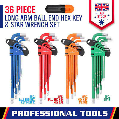 36-Piece Long Arm Allen Key Set Torx Star Hex Wrench Metric & Imperial Ball End
