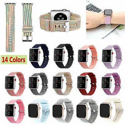 For Apple Watch iWatch Series 4 3 2 1 Canvas Nylon Watchband Strap Band 14-Color