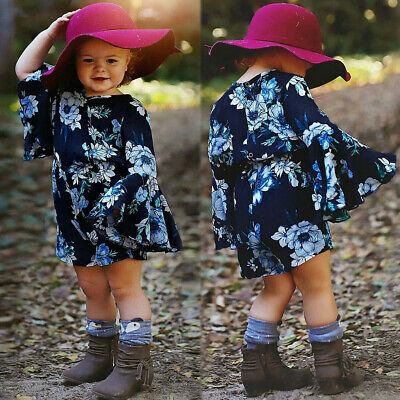 Toddler Baby Kid Girl Flare Sleeve Floral Print Romper Jumpsuit Playsuit Clothes