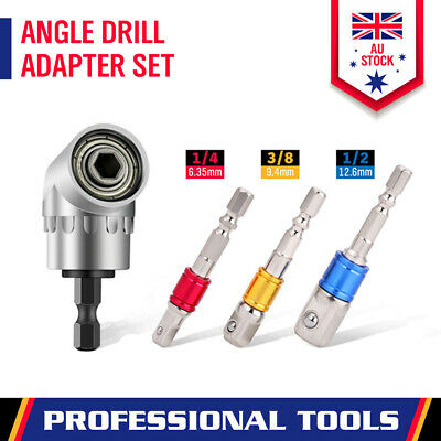 4-Piece Angle Drill Adapter Set Socket Bit Attachments Extension Impact Driver
