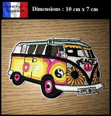 Écusson Brodé Thermocollant NEUF ( Patch Embroidered ) - Love Bus Peace Paix
