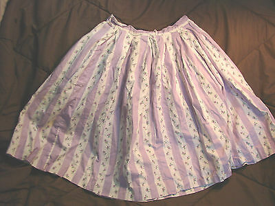 Vintage 50s Girls Childs Skirt  STRIPES Floral 5-6 LILAC Spring Cotton
