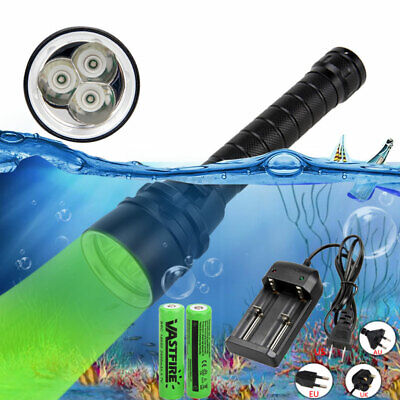 Scuba 770nm 3x XPE Green LED Diving Flashlight 2x 18650 Torch Underwater 100m