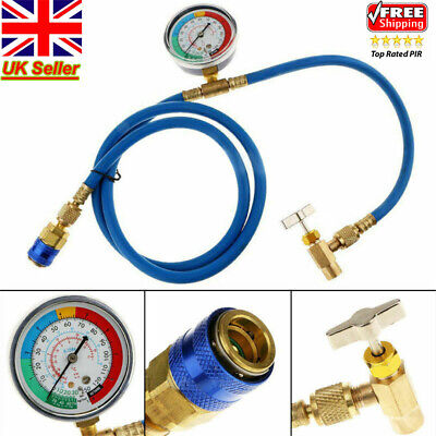 R134A AC Car Air Conditioning Refrigerant Recharge Hose Gas Measuring Tool Kit