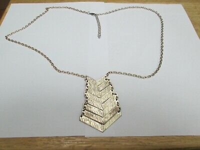 Long Gold Coloured Chain Necklace And Pendant