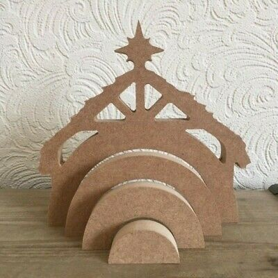 Wooden MDF 4 part ~ NATIVITY STABLE ~ Rainbow Stacker 18mm