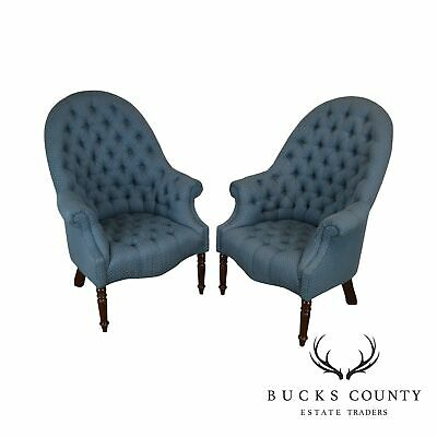 Hancock & Moore Custom Upholstered Pair of Tufted Library Wing Chairs