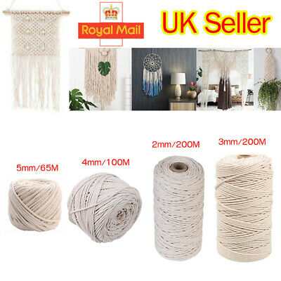 3/4/5mm Natural Beige Cotton Twisted Cord Rope Artisan Macrame String DIY Craft