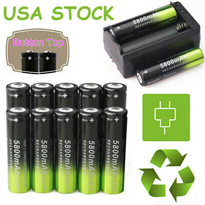 USA 10X SKYWOLFEYE Rechargeable 5800mAh Li-ion 18650 3.7V Battery &Smart Charger