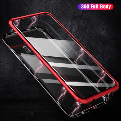 Front + Back Double Glass Magnetic Metal Case For Samsung Galaxy S10 S8 S9 Note9