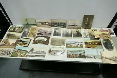 30x Antique Postcards - Early 20th Century, Portraits, Topographical & Military