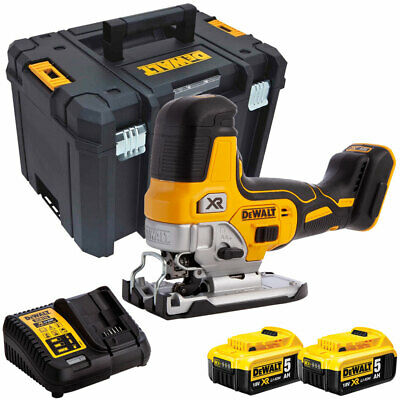 DeWalt DCS335N 18V Brushless Grip Jigsaw with 2 x 5Ah Batteries Charger in Case