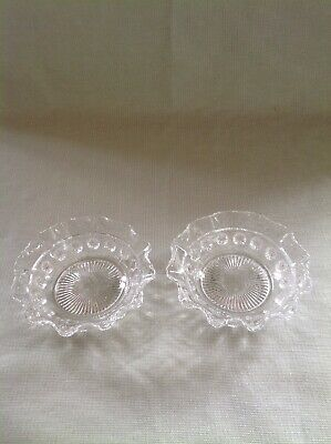 "Pair Of  Wavy Edge Vintage Glass Dishes 5"" Diameter."