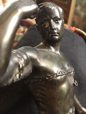 Bronze Or Spelter Figurine Of Partially Naked Gladiator Art Deco On Wood Stand