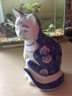 """Vintage Blue & White Chinese Oriental Cat Ornament 8.25"""" Tall"""