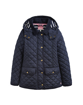 Joules Junior Newdale Girls Quilted Coat - Marine Navy
