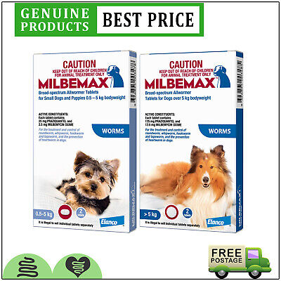 Milbemax Allwormer All Sizes for Dogs 2 Doses Worm Treatment by Novartis