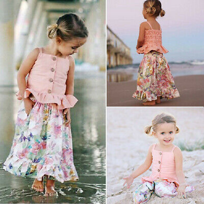 AU 2PCS Kids Baby Flower Girl Outfits Sleeveless Sling Shirt Top+ Skirts Clothes