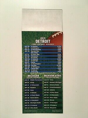 "UNIVERSITY OF MICHIGAN, MSU SPARTANS & DETROIT LIONS MAGNET SCHEDULE 9"" x 3 1/2"""