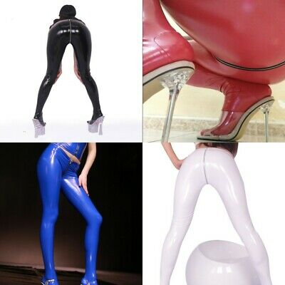 New Women Faux Latex Wet Look Pantyhose Zipper Crotch Skinny Slim Pants Tights