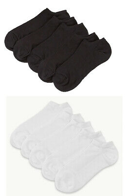 M&S Ladies Pack of 5 pairs BLACK GREY or WHITE Cotton Rich Trainer Socks 3 to 8