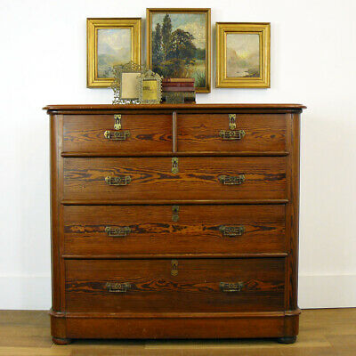Good Quality Victorian C1880 Pitch Pine Chest of Drawers