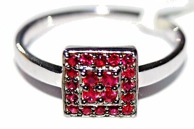 Reduced!! Genuine Ruby Art Deco 9Ct White Gold Ring Size N/7 Jewellers Old Stock