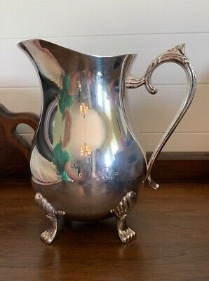 Vintage Signed Leonard Silver Plated Pitcher with Ice Lip Claw Feet Water Juice
