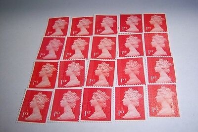 20 First Class  Red Security Stamps Off Paper Unfranked And No Gum.