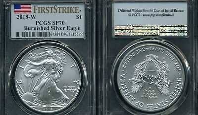 2018 W Burnished American Silver Eagle Pcgs Sp70 Ms70