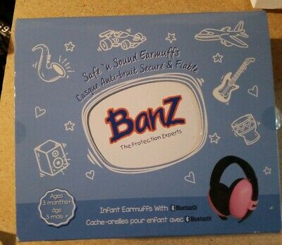 Banz Baby Mini Ear Protectors Infant Safe n' Sound Earmuffs With Bluetooth, pink