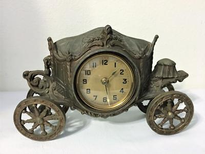 "Vintage Horseless Carriage Coach Mantel Clock Battery Lux Clock Mfg 13""X8"" U.s.a"