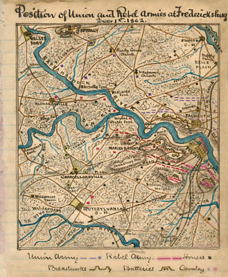 Position of Union and Rebel armies Fredericksburg Virginia c1862 map 12x14
