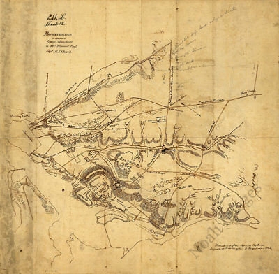 Reconnaissance in advance of Camp Mansfield Virginia c1860s map 24x24