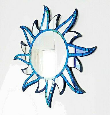 Blue sun shaped wall mirror 44cm-hand made in Bali-NEW