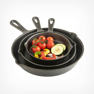 3pc Cast Iron Skillet Set Non-Stick Barbecue BBQ Frying Fry Griddle Grill Pan
