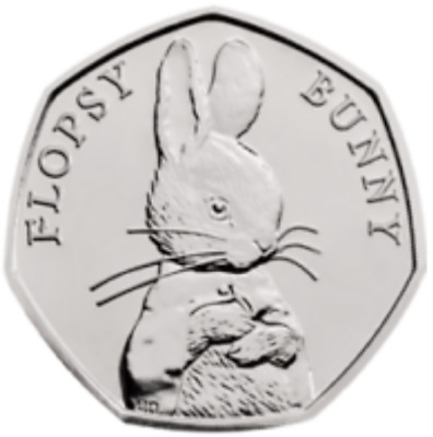 UNC 2018 FLOPSY BUNNY NEW BEATRIX POTTER fifty pence 50p coin GB rare coin hunt
