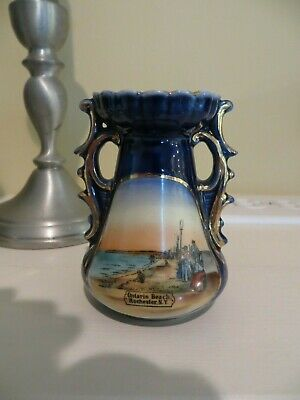 BEAUTIFUL COBALT BLUE souvenir china vase ONTARIO BEACH ROCHESTER NY Woolworth