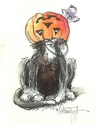 ACEO Original Halloween Black Cat Butterfly Pumpkin Tuxedo Kitty Watercolor ATC