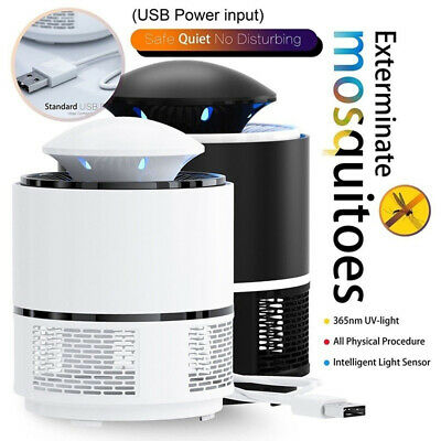 Light Insect Trap Silent Electric Mosquito Killer Lamp Pest Repeller Zapper USB