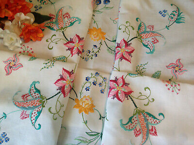 Vintage Hand Embroidered Linen Tablecloth ~ Stunning Jacobean Flowers