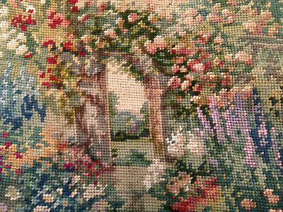 Vintage Hand Embroidered Wool Tapestry Picture ~ Pretty Garden Flowers