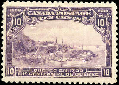 1908 Mint Canada Scott #101 10c Quebec Tercentenary Issue Stamp Never Hinged