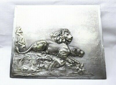 Antique very rare silver plated WMF relief plaque of lion & lioness, circa 1900