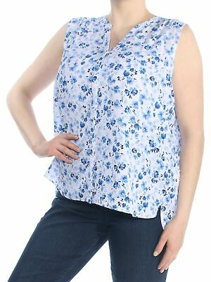 NYDJ $78 Womens New 1030 Blue Floral Sleeveless V Neck Blouse XL B+B