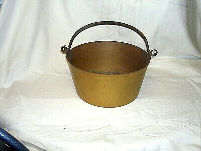 Vintage Antique Heavy Brass Iron Metal Handled Large Jam Cooking/Preserve Pot