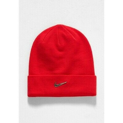 Nike Youth Red Beanie Hat Metal Swoosh Code: 825577-657
