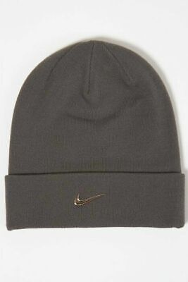 Nike Adult One Size Grey Beanie Hat Metal Swoosh Code: 825577-021